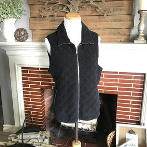 Abercrombie and Fitch Black Quilted Vest (Large)
